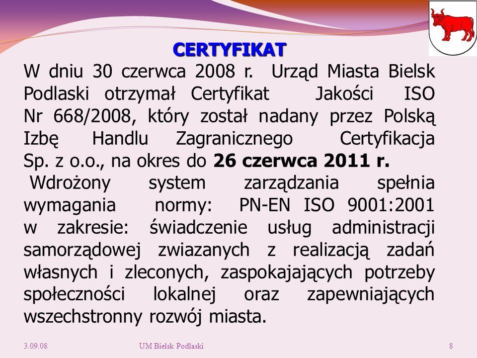 CERTYFIKAT W dniu 30 czerwca 2008 r.