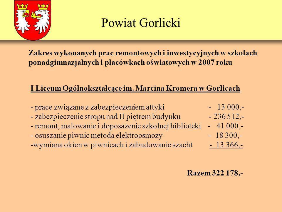Powiat Gorlicki Zakres wykonanych prac remontowych i inwestycyjnych w szkołach ponadgimnazjalnych i placówkach oświatowych w 2007 roku I Liceum Ogólno