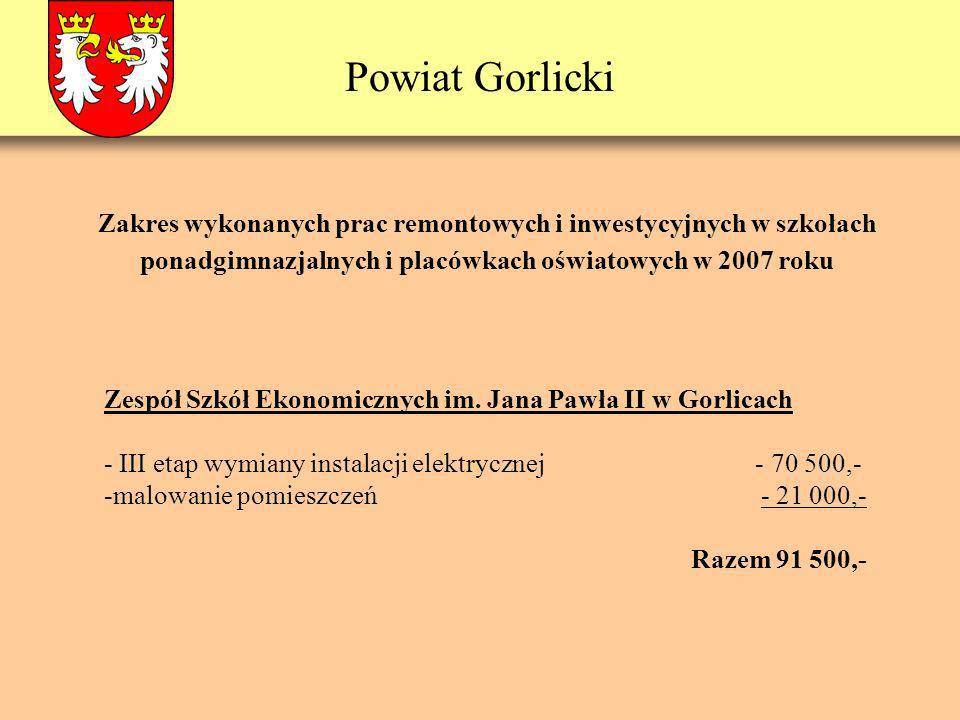 Powiat Gorlicki Zespół Szkół Ekonomicznych im. Jana Pawła II w Gorlicach - III etap wymiany instalacji elektrycznej - 70 500,- -malowanie pomieszczeń