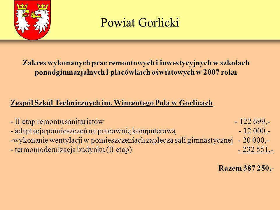 Powiat Gorlicki Zespół Szkół Technicznych im. Wincentego Pola w Gorlicach - II etap remontu sanitariatów - 122 699,- - adaptacja pomieszczeń na pracow