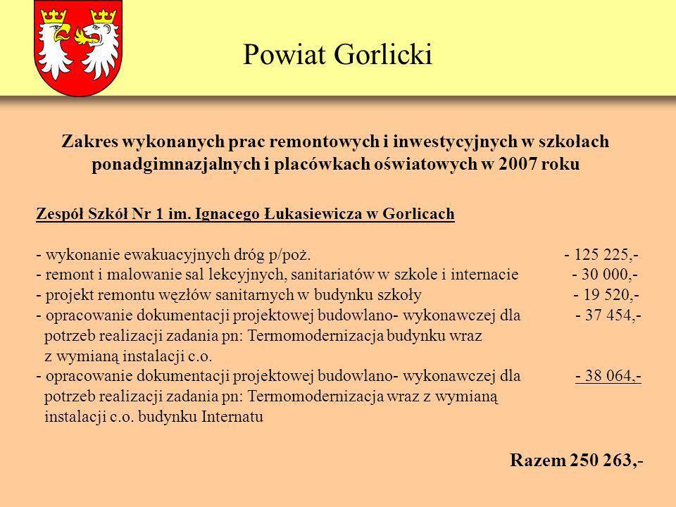 Powiat Gorlicki Zespół Szkół Nr 1 im. Ignacego Łukasiewicza w Gorlicach - wykonanie ewakuacyjnych dróg p/poż. - 125 225,- - remont i malowanie sal lek