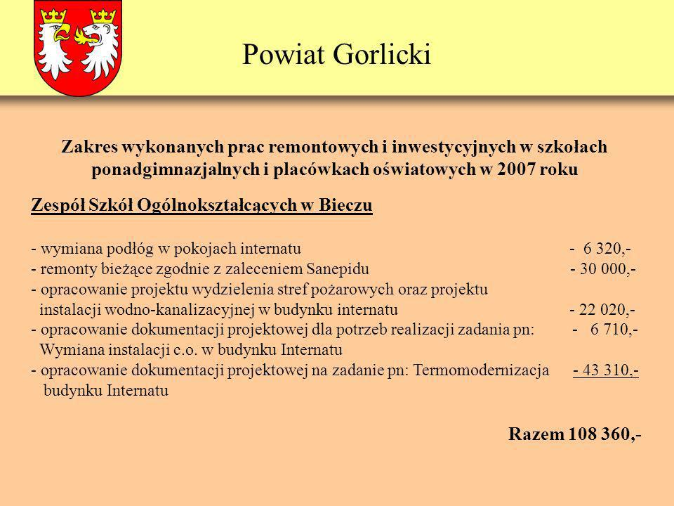 Powiat Gorlicki Zespół Szkół Ogólnokształcących w Bieczu - wymiana podłóg w pokojach internatu - 6 320,- - remonty bieżące zgodnie z zaleceniem Sanepi