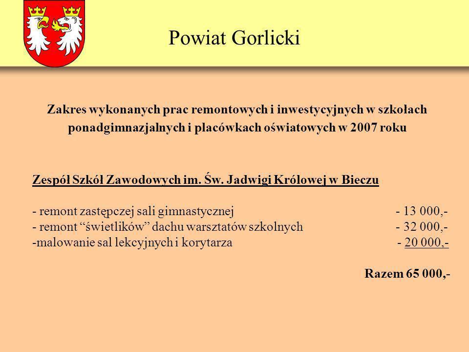 Powiat Gorlicki Informacja dotycząca finansowania programów oświatowych w 2007 r.