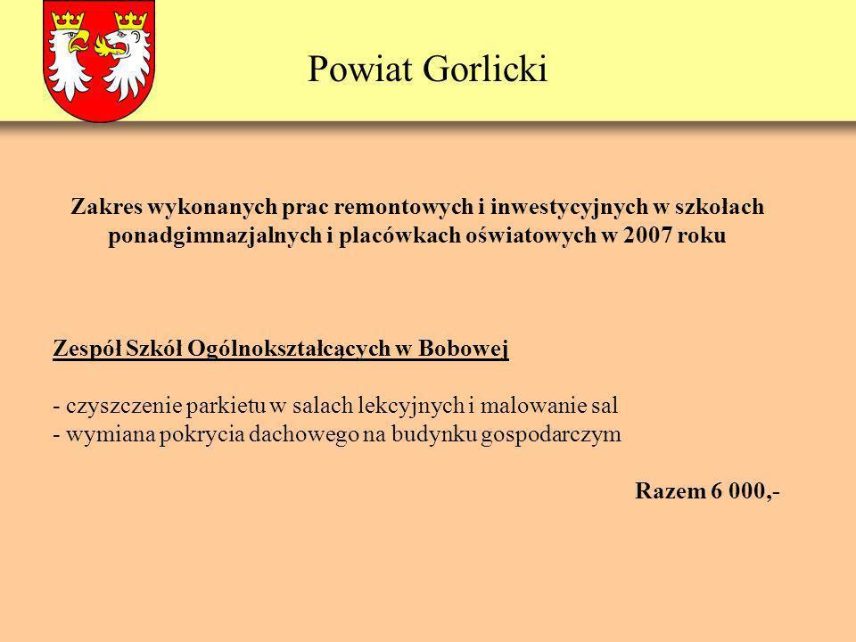 Powiat Gorlicki Zespół Szkół Ogólnokształcących w Bobowej - czyszczenie parkietu w salach lekcyjnych i malowanie sal - wymiana pokrycia dachowego na b