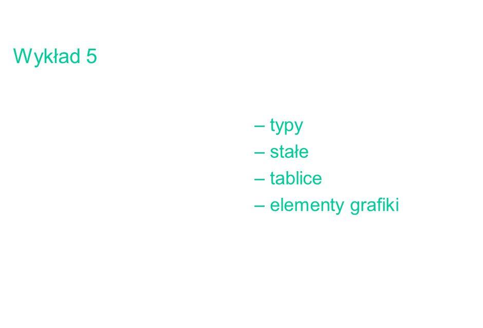 2 Definicje typów i stałych, wartości początkowe Definicja typów definicja: typy standardowe miały swoje nazwy: integer realcharboolean string można wprowadzać nazwy (unikalne) dla swoich typów pojęcie abstrakcyjne (dla kompilatora) - nie ma reprezentacji fizycznej - brak operacji !.