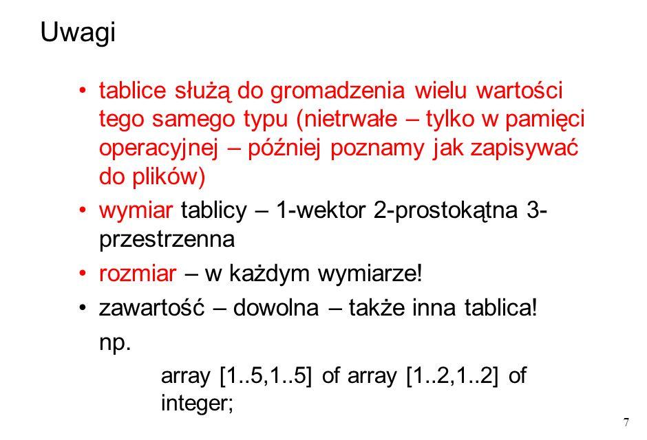 8 przykłady: array[ 1..50 ] of integer; fizycznie: w pamięci operacyjnej kolejne wartości typu bazowego ułożone regularnie wierszami array[ 1..20, 1..30] of real; array[ 1..20] of array[ 1..30] of real; może być też 30 wierszy i 20 kolumn, zależy od wizualizacji