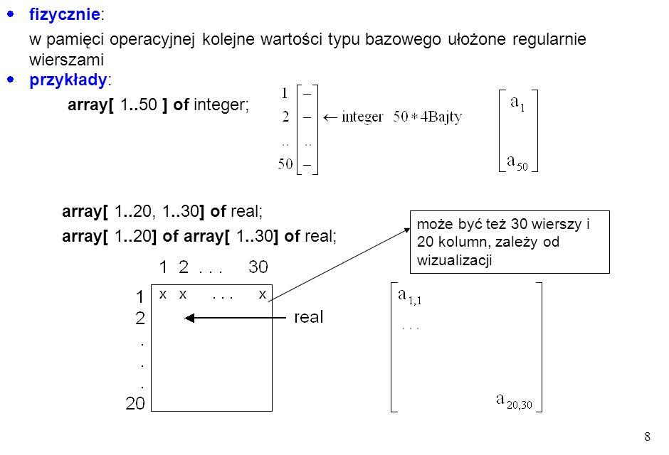 19 Przykłady: StringGrid1.Cols[0].CommaText := , 1, 2, 3, 4 ; StringGrid1.Rows[0].CommaText := , Nazwisko, Imię, kwota ; StringGrid1.Rows[0].CommaText := , Nazwisko , Imię , kwota ; StringGrid1.Cells[1, 2]:= Kowalski ; StringGrid1.Cells[2, 2]:= Jan ; StringGrid1.Cells[3, 2]:= 123,00 zł ; StringGrid1.Options := StringGrid1.Options + [goEditing]; StringGrid1.Options := StringGrid1.Options + [goColSizing, goRowSizing]; Options jest tzw.