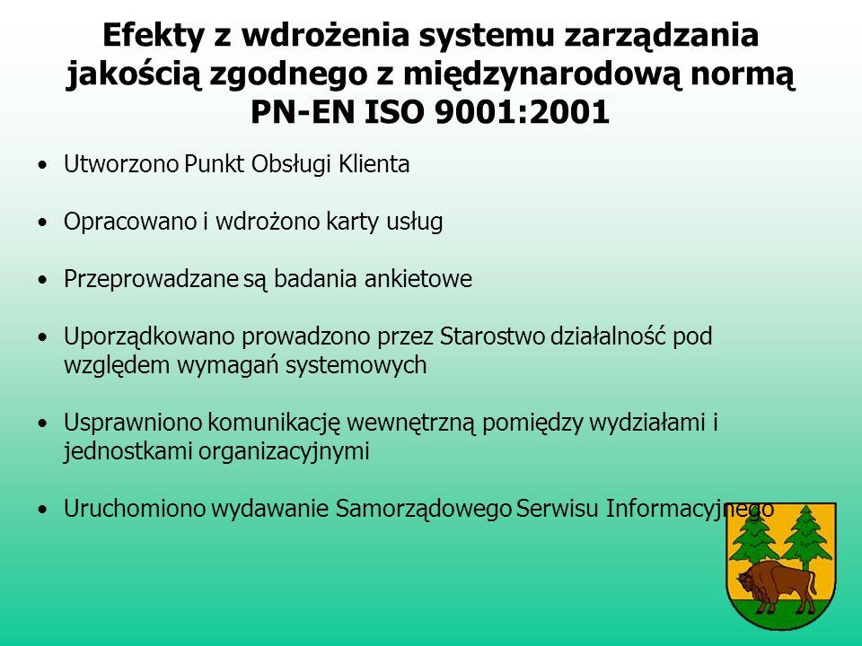 Efekty z wdrożenia systemu zarządzania jakością zgodnego z międzynarodową normą PN-EN ISO 9001:2001 Utworzono Punkt Obsługi Klienta Opracowano i wdrożono karty usług Przeprowadzane są badania ankietowe Uporządkowano prowadzono przez Starostwo działalność pod względem wymagań systemowych Usprawniono komunikację wewnętrzną pomiędzy wydziałami i jednostkami organizacyjnymi Uruchomiono wydawanie Samorządowego Serwisu Informacyjnego