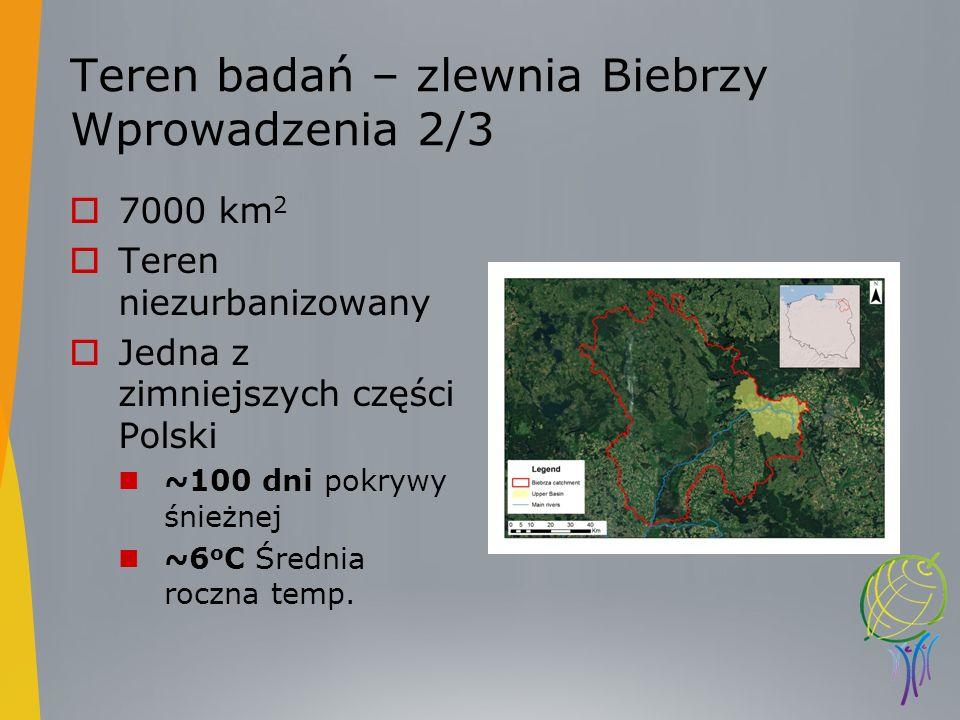 Teren badań – zlewnia Biebrzy Wprowadzenia 2/3 7000 km 2 Teren niezurbanizowany Jedna z zimniejszych części Polski ~100 dni pokrywy śnieżnej ~6 o C Śr