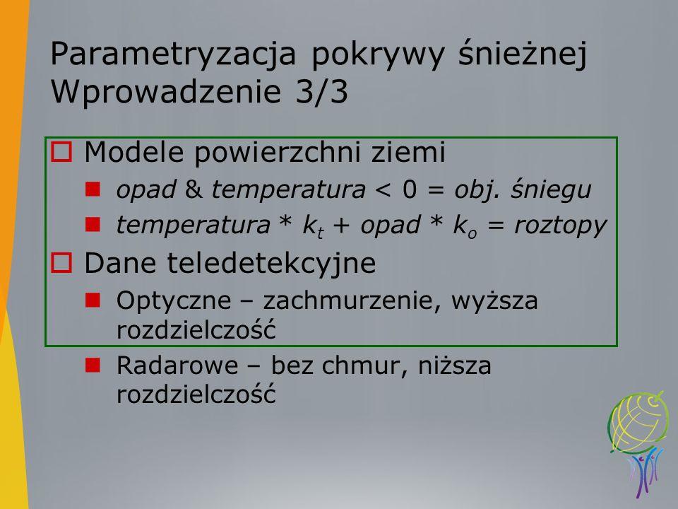 Parametryzacja pokrywy śnieżnej Wprowadzenie 3/3 Modele powierzchni ziemi opad & temperatura < 0 = obj. śniegu temperatura * k t + opad * k o = roztop