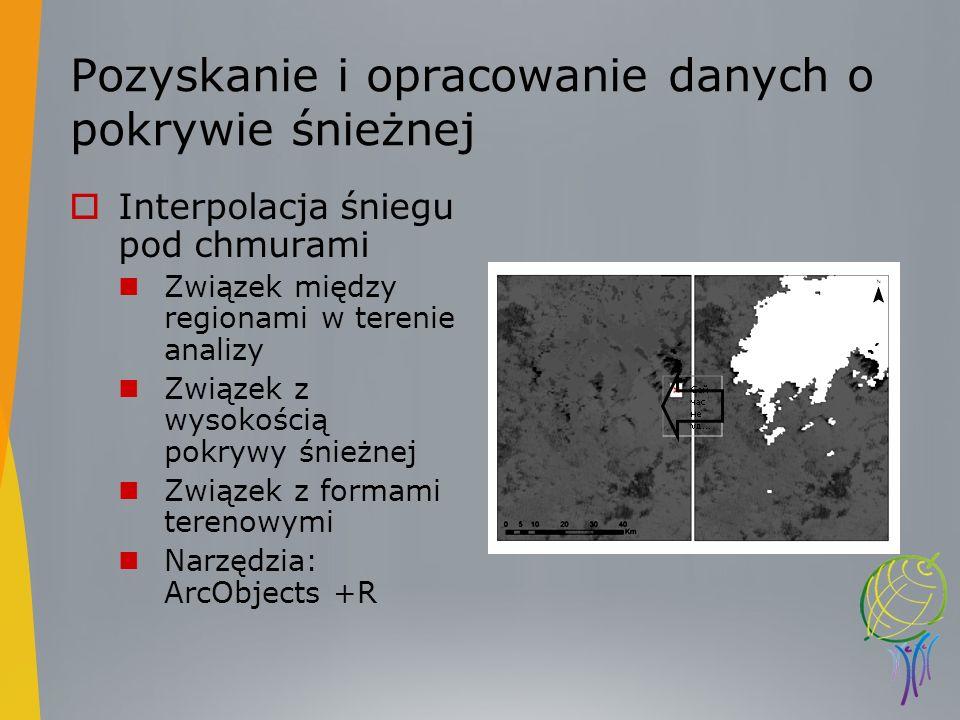 Pozyskanie i opracowanie danych o pokrywie śnieżnej Interpolacja śniegu pod chmurami Związek między regionami w terenie analizy Związek z wysokością p