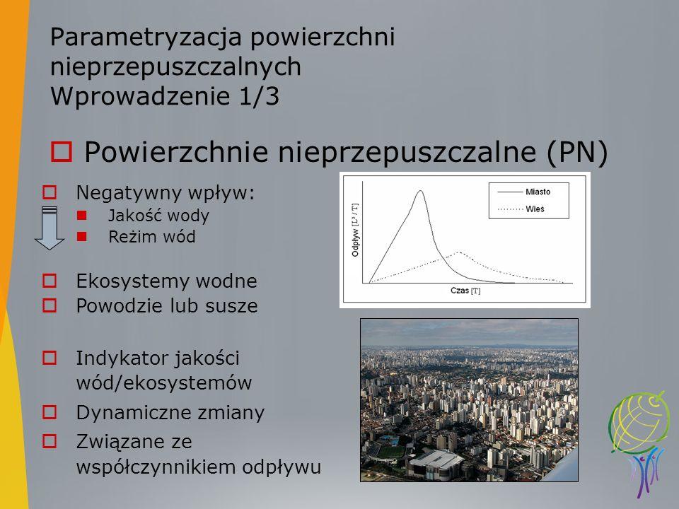 Parametryzacja powierzchni nieprzepuszczalnych Wprowadzenie 1/3 Powierzchnie nieprzepuszczalne (PN) Negatywny wpływ: Jakość wody Reżim wód Ekosystemy