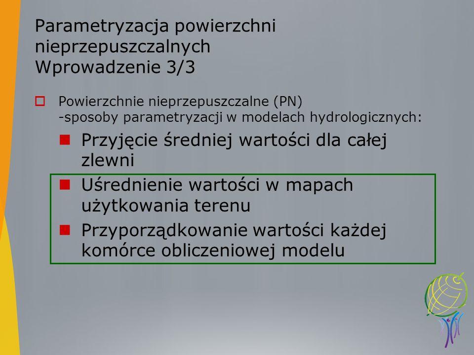 Parametryzacja powierzchni nieprzepuszczalnych Wprowadzenie 3/3 Powierzchnie nieprzepuszczalne (PN) -sposoby parametryzacji w modelach hydrologicznych