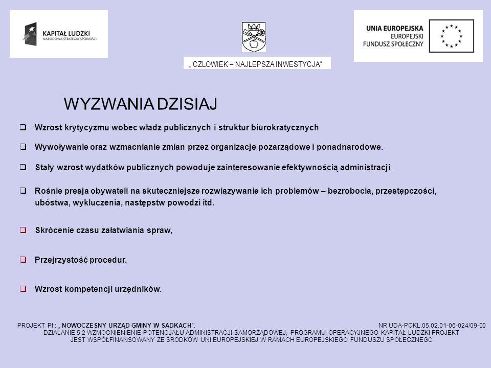 CZLOWIEK – NAJLEPSZA INWESTYCJA PROJEKT Pt.: NOWOCZESNY URZĄD GMINY W SADKACH. NR UDA-POKL.05.02.01-06-024/09-00 DZIAŁANIE 5.2 WZMOCNIENIENIE POTENCJA