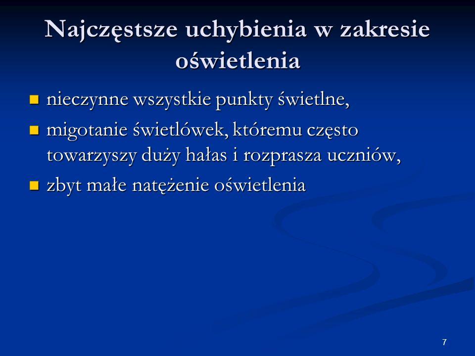 8 Niewłaściwe oświetlenie może powodować: osłabienie wzroku osłabienie wzroku szybsze zmęczenie, szybsze zmęczenie, bóle głowy, bóle głowy, łzawienie i zaczerwienienie powiek i spojówek, łzawienie i zaczerwienienie powiek i spojówek, pogorszenie ogólnego samopoczucia.