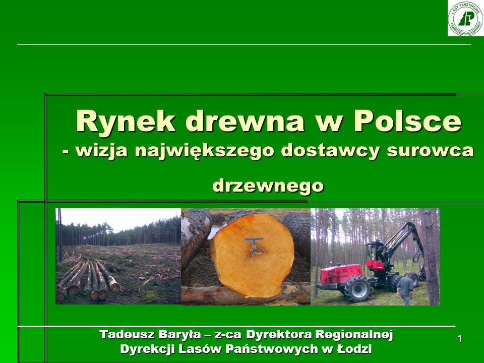 1 Rynek drewna w Polsce - wizja największego dostawcy surowca drzewnego Tadeusz Baryła – z-ca Dyrektora Regionalnej Dyrekcji Lasów Państwowych w Łodzi