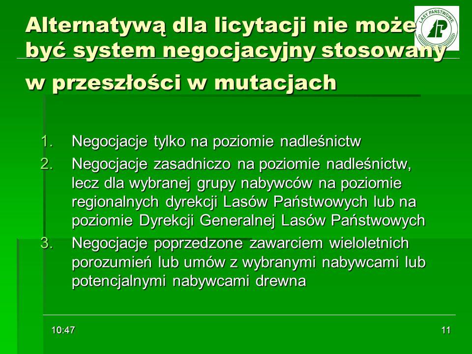 10:48 11 Alternatywą dla licytacji nie może być system negocjacyjny stosowany w przeszłości w mutacjach 1.Negocjacje tylko na poziomie nadleśnictw 2.N