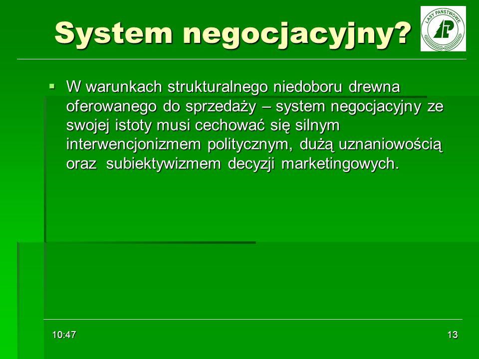 10:48 13 System negocjacyjny? W warunkach strukturalnego niedoboru drewna oferowanego do sprzedaży – system negocjacyjny ze swojej istoty musi cechowa