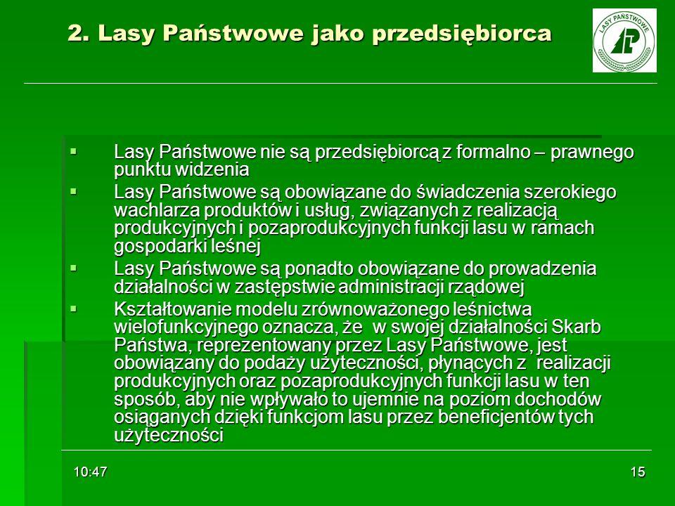 10:48 15 2. Lasy Państwowe jako przedsiębiorca Lasy Państwowe nie są przedsiębiorcą z formalno – prawnego punktu widzenia Lasy Państwowe nie są przeds