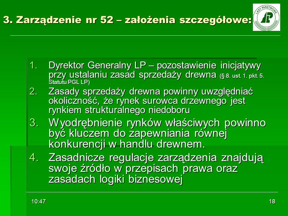 10:48 18 3. Zarządzenie nr 52 – założenia szczegółowe: 1.Dyrektor Generalny LP – pozostawienie inicjatywy przy ustalaniu zasad sprzedaży drewna (§ 8.