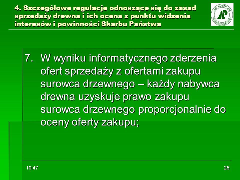 10:48 25 4. Szczegółowe regulacje odnoszące się do zasad sprzedaży drewna i ich ocena z punktu widzenia interesów i powinności Skarbu Państwa 7. W wyn