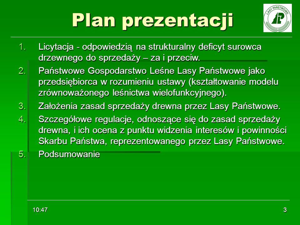 10:48 3 Plan prezentacji 1.Licytacja - odpowiedzią na strukturalny deficyt surowca drzewnego do sprzedaży – za i przeciw. 2.Państwowe Gospodarstwo Leś