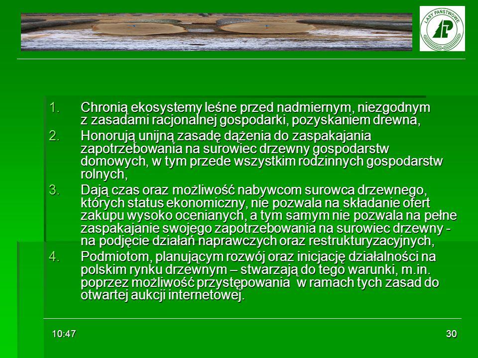 10:48 30 1.Chronią ekosystemy leśne przed nadmiernym, niezgodnym z zasadami racjonalnej gospodarki, pozyskaniem drewna, 2.Honorują unijną zasadę dążen