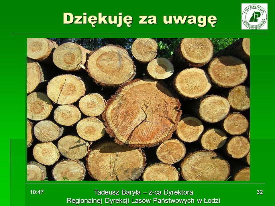 10:48 32 Dziękuję za uwagę Tadeusz Baryła – z-ca Dyrektora Regionalnej Dyrekcji Lasów Państwowych w Łodzi