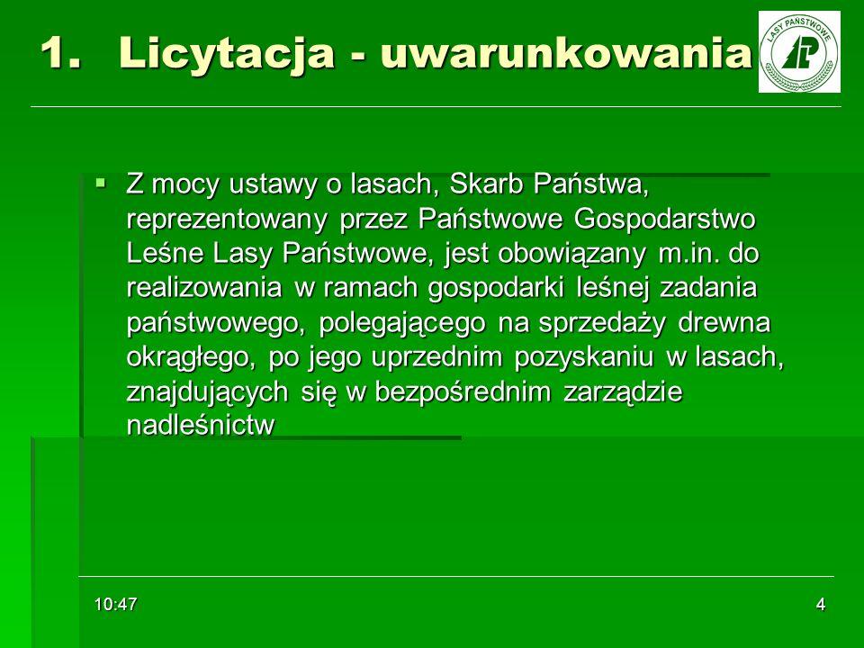 10:48 4 1.Licytacja - uwarunkowania Z mocy ustawy o lasach, Skarb Państwa, reprezentowany przez Państwowe Gospodarstwo Leśne Lasy Państwowe, jest obow
