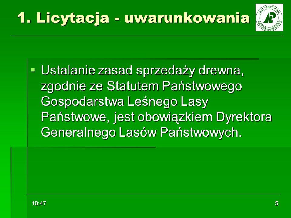 10:48 5 1. Licytacja - uwarunkowania Ustalanie zasad sprzedaży drewna, zgodnie ze Statutem Państwowego Gospodarstwa Leśnego Lasy Państwowe, jest obowi