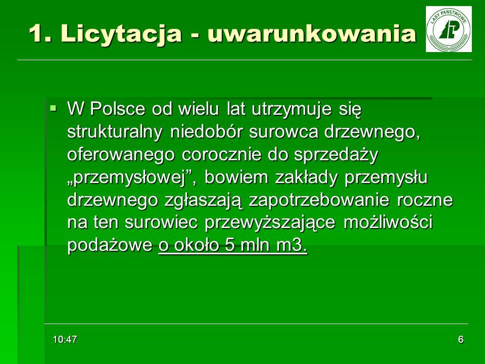 10:48 6 1. Licytacja - uwarunkowania W Polsce od wielu lat utrzymuje się strukturalny niedobór surowca drzewnego, oferowanego corocznie do sprzedaży p