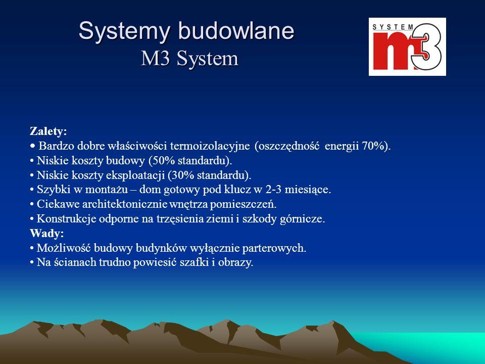 Zalety: Bardzo dobre właściwości termoizolacyjne (oszczędność energii 70%). Niskie koszty budowy (50% standardu). Niskie koszty eksploatacji (30% stan