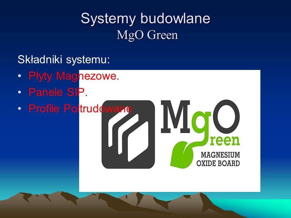 Systemy budowlane MgO Green Składniki systemu: Płyty Magnezowe. Panele SIP. Profile Poltrudowane