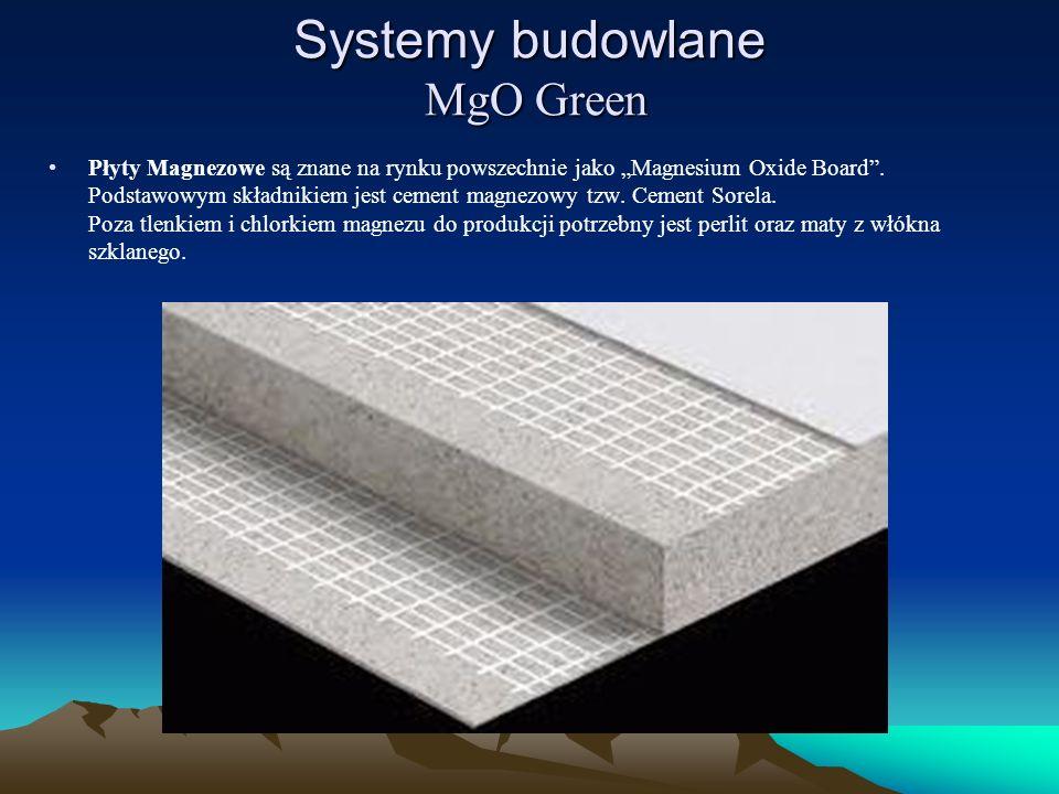 Systemy budowlane MgO Green Płyty Magnezowe są znane na rynku powszechnie jako Magnesium Oxide Board. Podstawowym składnikiem jest cement magnezowy tz