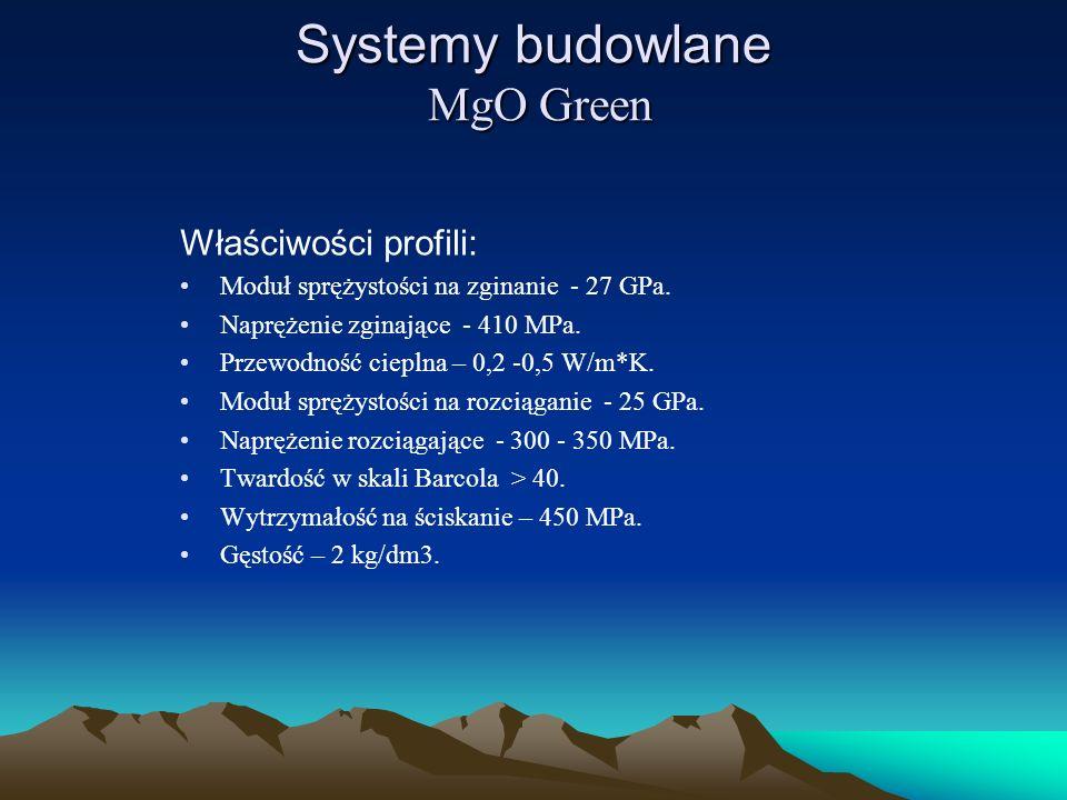 Systemy budowlane MgO Green Właściwości profili: Moduł sprężystości na zginanie - 27 GPa. Naprężenie zginające - 410 MPa. Przewodność cieplna – 0,2 -0