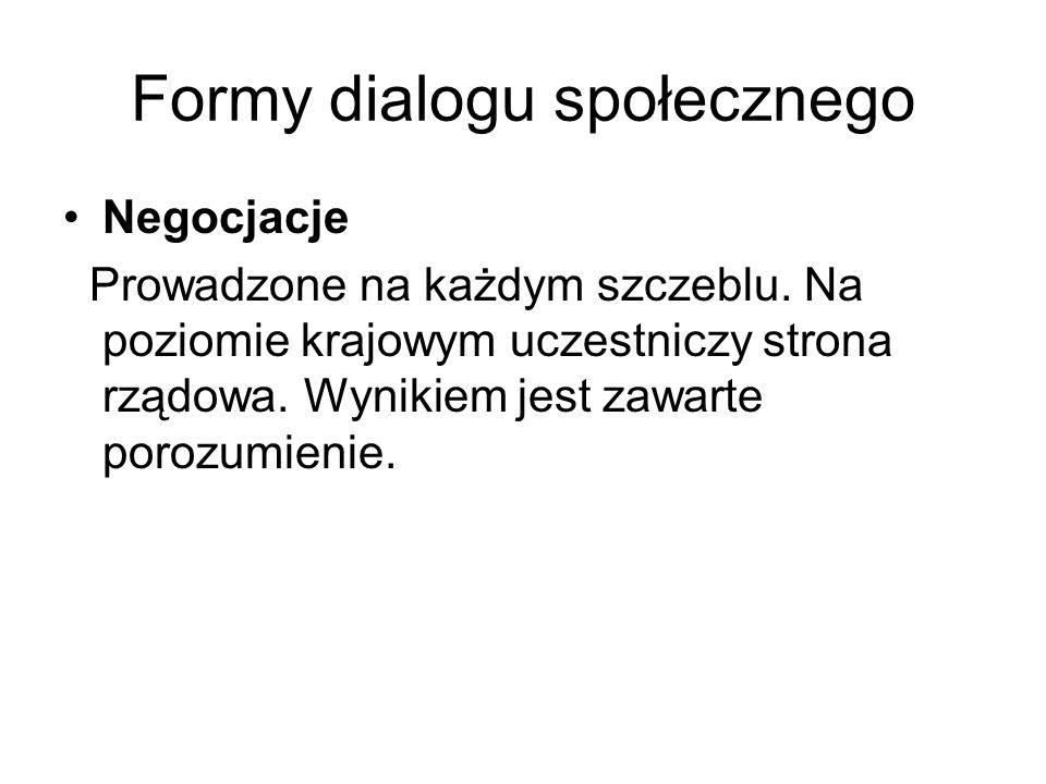 Formy dialogu społecznego Negocjacje Prowadzone na każdym szczeblu.