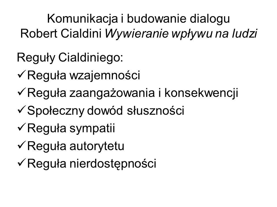 Komunikacja i budowanie dialogu Robert Cialdini Wywieranie wpływu na ludzi Reguły Cialdiniego: Reguła wzajemności Reguła zaangażowania i konsekwencji Społeczny dowód słuszności Reguła sympatii Reguła autorytetu Reguła nierdostępności