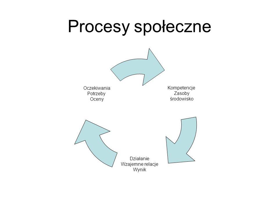 Procesy społeczne Kompetencje Zasoby środowisko Działanie Wzajemne relacje Wynik Oczekiwania Potrzeby Oceny
