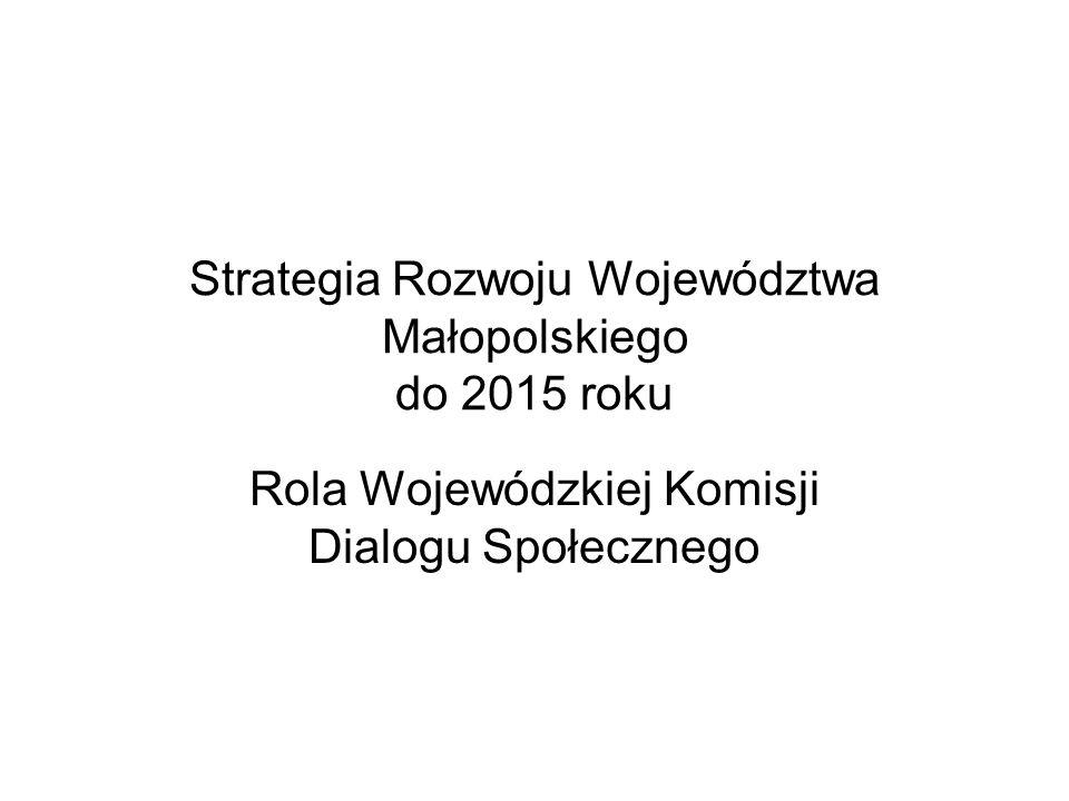 Strategia Rozwoju Województwa Małopolskiego do 2015 roku Rola Wojewódzkiej Komisji Dialogu Społecznego