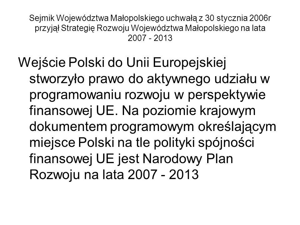 Sejmik Województwa Małopolskiego uchwałą z 30 stycznia 2006r przyjął Strategię Rozwoju Województwa Małopolskiego na lata 2007 - 2013 Wejście Polski do Unii Europejskiej stworzyło prawo do aktywnego udziału w programowaniu rozwoju w perspektywie finansowej UE.