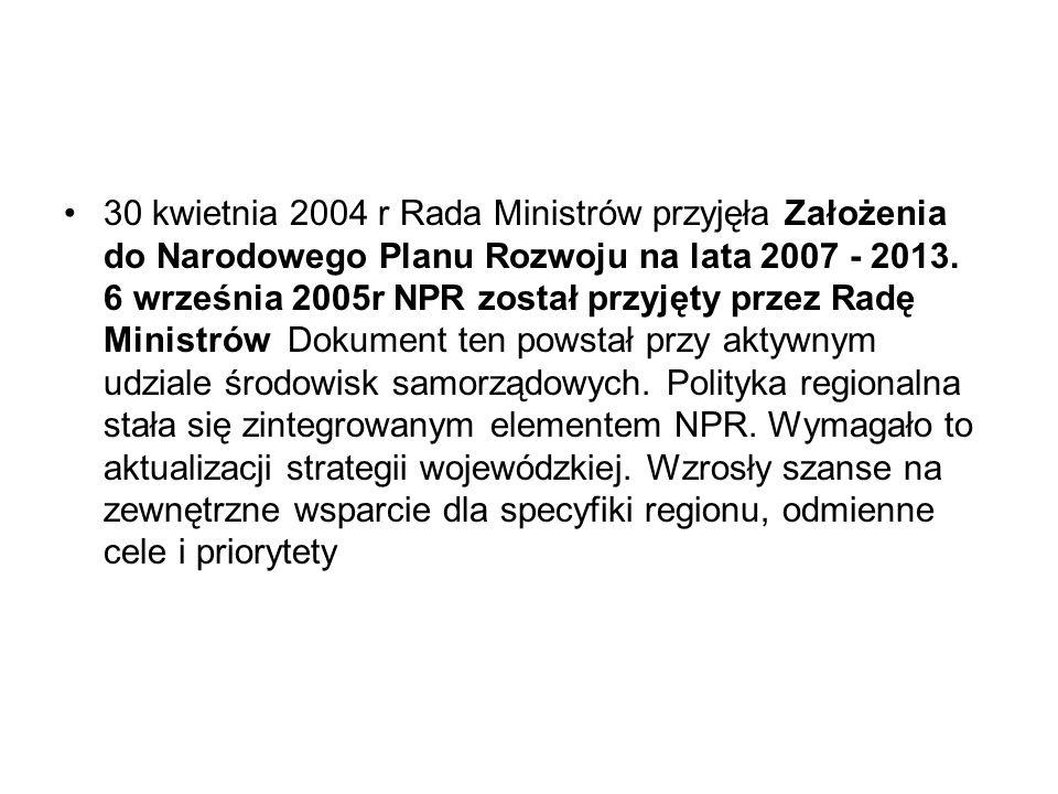 30 kwietnia 2004 r Rada Ministrów przyjęła Założenia do Narodowego Planu Rozwoju na lata 2007 - 2013.