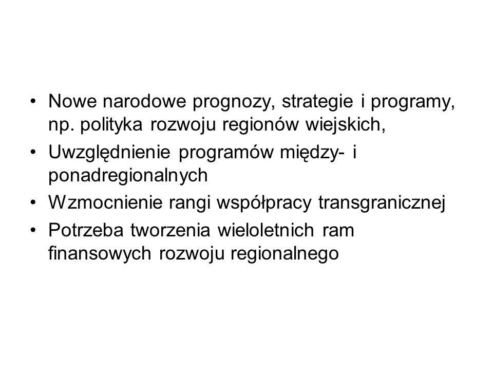 Nowe narodowe prognozy, strategie i programy, np.