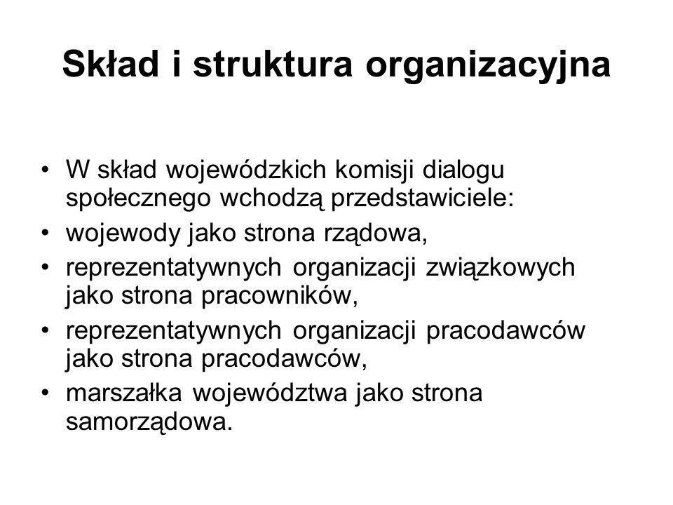 Skład i struktura organizacyjna W skład wojewódzkich komisji dialogu społecznego wchodzą przedstawiciele: wojewody jako strona rządowa, reprezentatywnych organizacji związkowych jako strona pracowników, reprezentatywnych organizacji pracodawców jako strona pracodawców, marszałka województwa jako strona samorządowa.