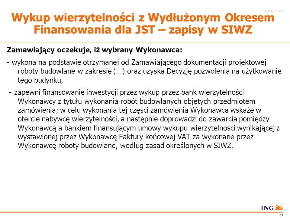 Do not put content in the Brand Signature area 24/02/2014 10:59 12 Wykup wierzytelności z Wydłużonym Okresem Finansowania dla JST – zapisy w SIWZ Nazwa zadania: Budowa budynku (…) wraz z finansowaniem wykonanych robót przez wykup wierzytelności.