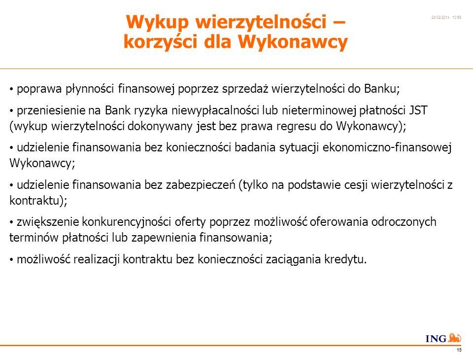 Do not put content in the Brand Signature area 24/02/2014 10:59 14 Wykup wierzytelności JST z dyskontem a Wydłużony Okres Finansowania Wykup wierzytelności JST z dyskontem Wykup wierzytelności z Wydłużonym Okresem Finansowania dla JST 1.rozłożenie spłaty wierzytelności na długi okres dopasowany do możliwości finansowych JST; 2.