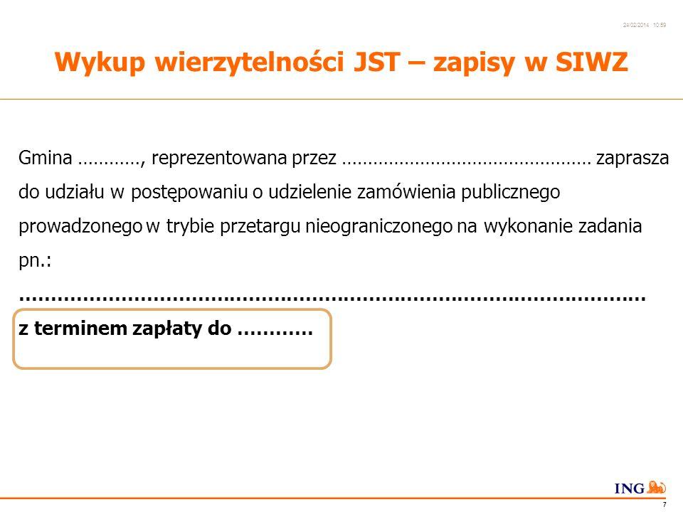 Do not put content in the Brand Signature area 24/02/2014 10:59 6 Wykup wierzytelności JST z Dyskontem budowa hali sportowej termin wykonania robót: ok.