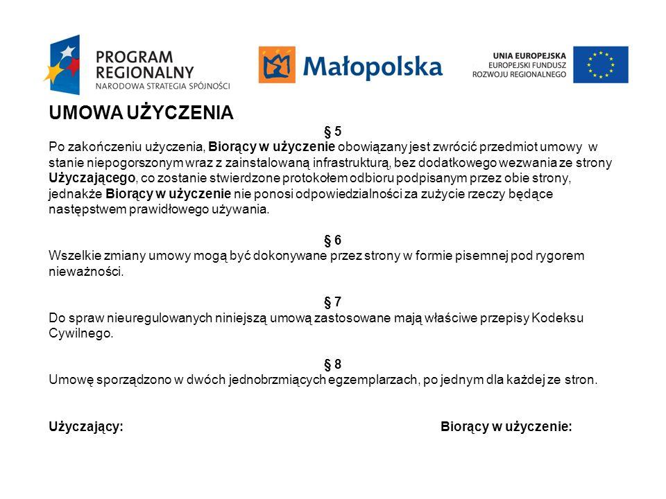 UMOWA UCZESTNICTWA § 1 Przedmiotem umowy jest określenie warunków współpracy stron związanych z realizacją projektu pn.