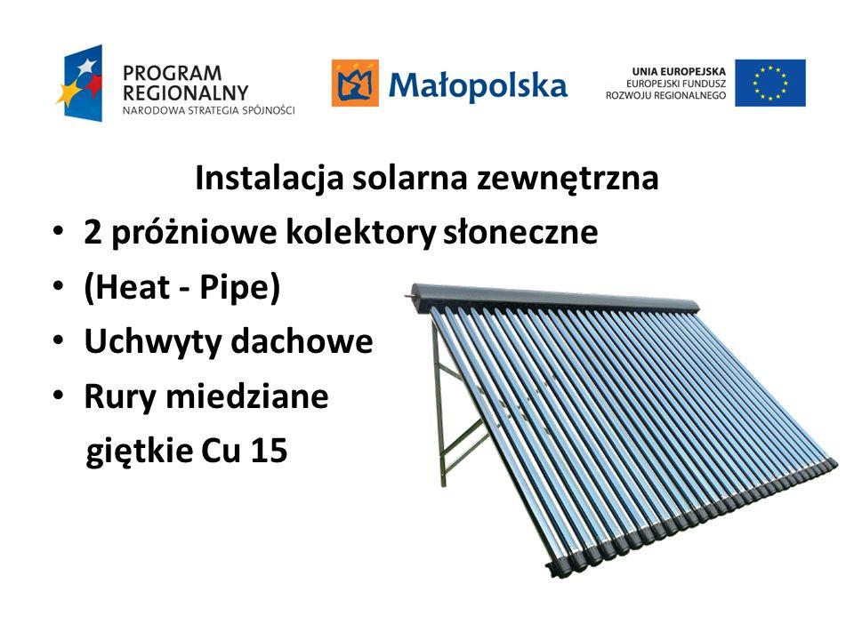 Instalacja solarna zewnętrzna 2 próżniowe kolektory słoneczne (Heat - Pipe) Uchwyty dachowe Rury miedziane giętkie Cu 15