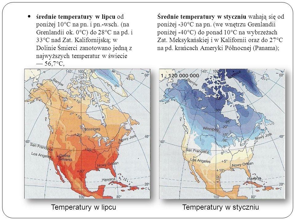 Temperatury w lipcuTemperatury w styczniu Średnie temperatury w styczniu wahają się od poniżej -30°C na pn. (we wnętrzu Grenlandii poniżej -40°C) do p