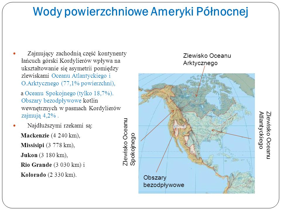 Wody powierzchniowe Ameryki Północnej Zajmujący zachodnią część kontynenty łańcuch górski Kordylierów wpływa na ukształtowanie się asymetrii pomiędzy